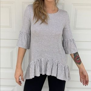 Grey & White Stripe Baby Doll Blouse